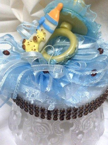 Boy Blue Giraffe Baby Shower Party Centerpiece Cake Topper Mom To Be Keepsake Gift front-13475