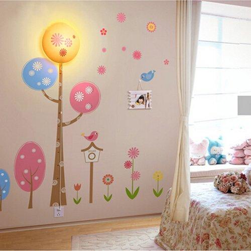 Coffled® 220V Fantastic Job New Design Spring Dawn Pattern 3D Led Wallpaper Wall Sticker Night Light Children Midnight Get Up Night Light Home Decor Kids Bedroom Decor