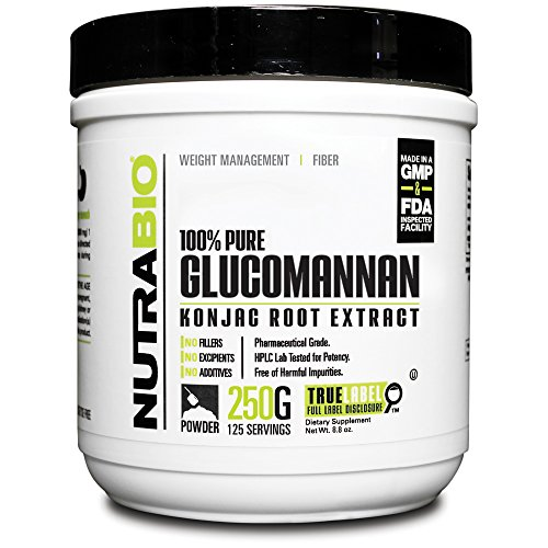 Nutrabio Konjac Root/Glucomannan Powder - 250 Grams