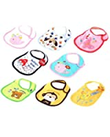YKS Cute Double Layer Waterproof Cotton Kids Baby Bib Bibs Saliva Towel Unisex Boys Girls(Pack of 3)