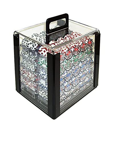 Trademark Games 4 Aces 1000-Piece Poker Chip Set in Acrylic Carrier, Multi As You See