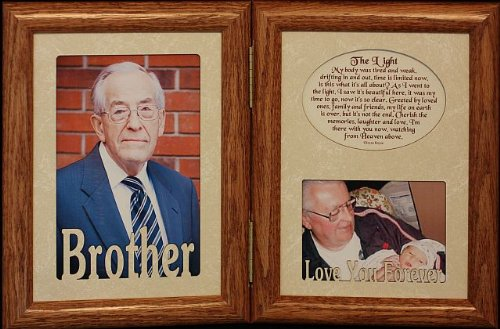 5x7 HINGED Double Solid Oak Picture Photo Frame with Memorial/Bereavement The Light Poem and Brother Cream Mat Inserts