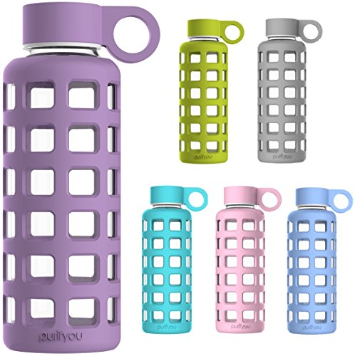 purifyou Premium Glass Water Bottle with Silicone Sleeve & Stainless Steel Lid Insert, 12 / 22 / 32 oz (Small Juicers For Travel compare prices)