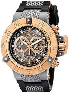 Invicta Subaqua Men's Quartz Watch with Grey Transparant Dial Chronograph Display and Black PU Strap 0932