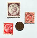 1937-D Deutsches Reich 1 Pfennig - Eagle on Swatztika German Coin with One 1933 Friedrich II (The Great) Stamp, One 1941 Wolfgang Amadeus Mozart Stamp & One 1889 Adler Stamp 11.20.18
