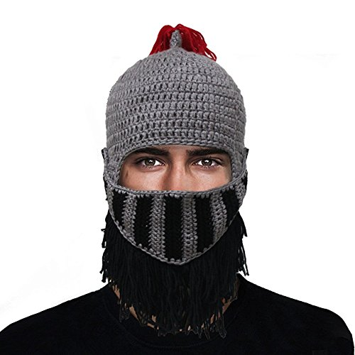 GIANCOMICS Red Tassel Roman Cosplay Knight Helmet Visor Beanie Knit Hat Cap Grey LM03 (Cool Cosplay compare prices)