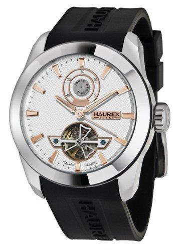 Haurex Italy CA356USH - Reloj de caballero automático, correa de goma color negro