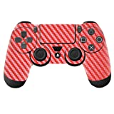 Generic 2PCS Sony PlayStation 4 Controllers Protective Vinyl Skins Decals Cover-Carbon Firber Red
