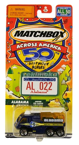 "Matchbox Across America 50th Birthday Series ALABAMA ""Airport Fire Pumper"" Rocket Recovery Truck - 1"