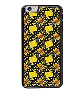 Fuson Premium 2D Back Case Cover Yellow Floral Pattern With Blue Background Degined For Apple iPhone 6