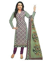 Sanjana Women's Green Cotton Unstitch Embroidered Designer Dress Material (SC8704_Free Size_Green & Pink)
