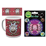 Set: Rick And Morty, Szechuan Dipping Sauce Photo Coffee Mug (4x3 inches) And 1 Rick And Morty, Sticker Adhesive Decal (5x4 inches)