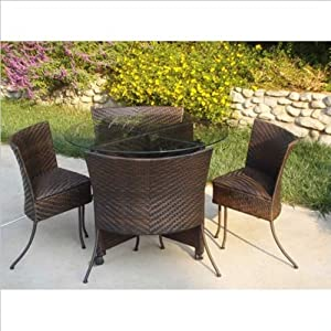 Outdoor Indoor 5 Pc Wicker Card Table