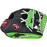 "RawlingsYouth Custom Series Pro Taper Glove, Black/Neon Green, 11.25"", 11.25""/Black/Neon Green"