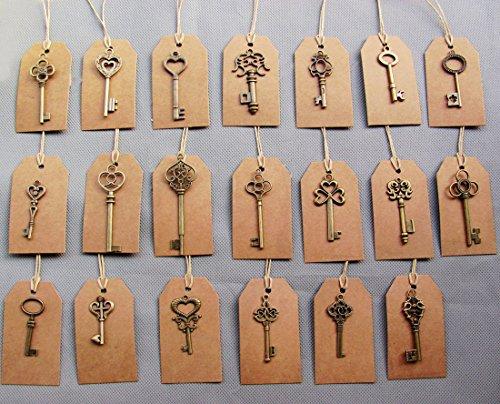 SL crafts Mixed 100pcs Skeleton Keys & 100 pcs Kraft Tags Antiqued Brass Bronze Charms Pendants Wedding favor 34mm-68mm