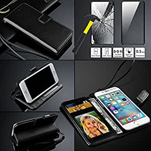 Samsung Galaxy S6 S 6 Rich Leather Stand Wallet Flip Case Cover Book Pouch / Quality Slip Pouch / Soft Phone Bag (Specially Manufactured - Premium Quality) Antique Leather Case WITH TEMPERED GLASS Black
