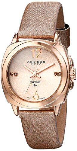 Akribos XXIV Women's Lady Diamond Analog Display Swiss Quartz Champagne Watch