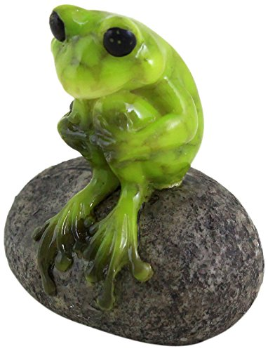 Top Collection 1.75-Inch Miniature Fairy Garden and Terrarium Cute Frog on Stone, Mini (Miniature Resin Frog compare prices)