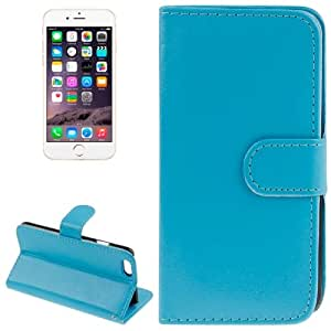 Sheepskin Texture Horizontal Flip Magnetic Button Leather Case with Card Slot & Holder for iPhone 6(Blue)