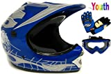 Youth Motocross ATV Dirt Bike Off-road Helmet Blue Skull W/goggles/gloves~s M L (Medium)