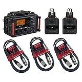Tascam DR-60DMKII Portable Digital Recorder Bundle with Tascam DR-10x XLR Plug-On Linear PCM Digital Recorder & Cables - DSLR Audio Recording Kit
