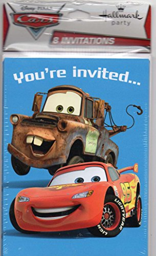 "Cars Disney Pixar ""You're Invited"" Birthday Party Invitaions with Lightning Mcqueen & Mater By Hallmark (8/Pkg)"
