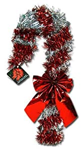 "Deluxe Tinsel Candy Cane 14"" with Bow & Hangtag Christmas Decoration (Red)"