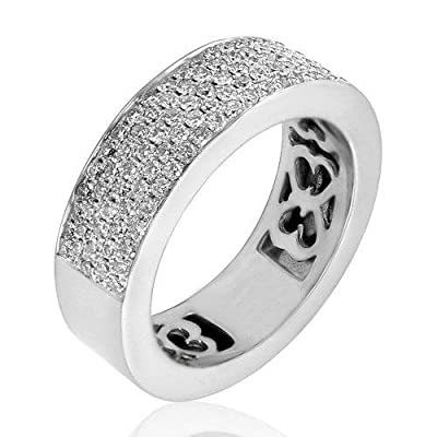 1.65 ct TW Lady's Round Cut Diamond Wedding Band Ring in 14 karat White Gold