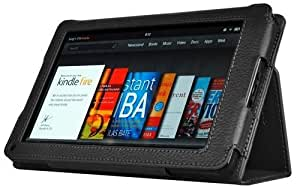CaseCrown Bold Standby Genuine Leather Case (Black) for Amazon Kindle Fire Tablet