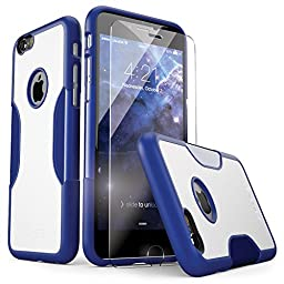 iPhone 6 Case, fits iPhone 6s (Blue) SaharaCase Protective Kit Bundled with [Tempered Glass Screen Protector] Slim Fit Rugged Protection Case Shockproof Bumper Hard Back (Blue/White)