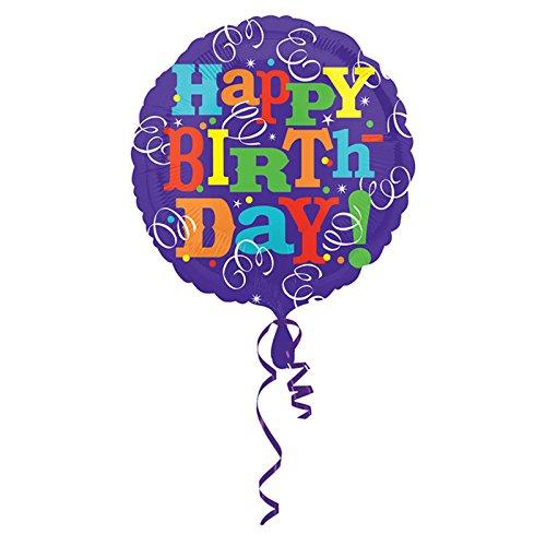 Amscan 21/53 cm-Happy Birthday serpentins Color Blast Ballon en aluminium