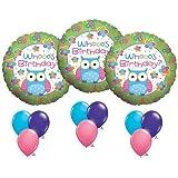 "Hootie Cutie Owl Whooo's Birthday Balloon Party 18"" Mylar Foil Latex Set Kit"