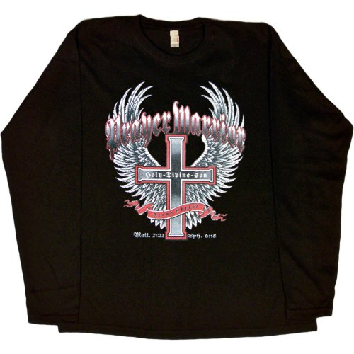 WOMENS LONG-SLEEVE T-SHIRT : NAVY - SMALL - Prayer Warrior Jesus Christ Holy Divine Son - Christian Cross with Wings Biker