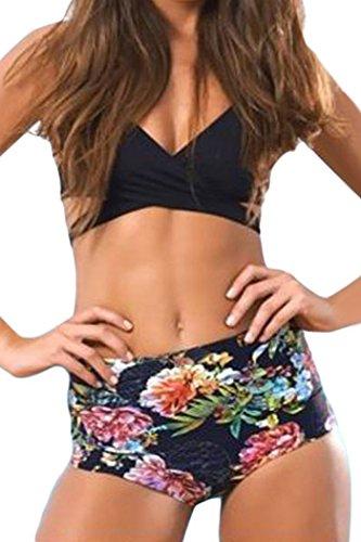 Yonas Women's Two Pieces Black Wrap Top Floral High Waist Bikini Swimwear(SIZE L)