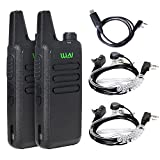 WLN KCD-1 Walkie Talkie 3W 16-Channel UHF Long Range FRS/GMRS Two-Way Radio with Earpiece 2 Pack