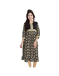 Black Gold Long Kurtis For Women Printed Anarkali Floral 3/4 Sleeves BCRMF-5030-V