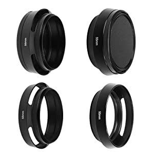 SIOTI Camera Standard Hollow Vented Metal Lens Hood with Cleaning Cloth and Lens Cap Compatible with Leica/Fuji/Nikon/Canon/Samsung Standard Thread Lens (Color: Standard Vented, Tamaño: 55mm)