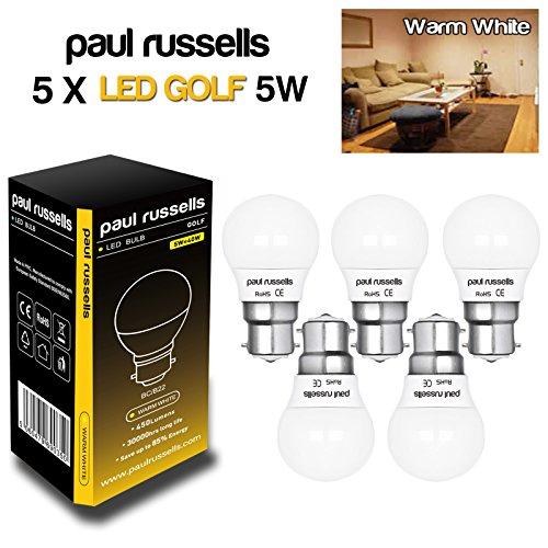 5-pack-5w-golf-ball-led-light-bulb-b22-bc-bayonet-cap-paul-russells-very-bright-lamp-5w-40w-warm-whi