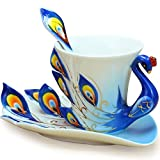Cozyswan® Collectable Fine Arts China Porcelain Tea Cup and Saucer Coffee Cup Peacock Theme Romantic Creative Present blue