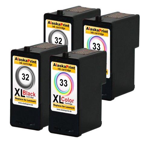 Sparangebot 4x Druckerpatronen Tintenpatronen Ersatz für Lexmark 32 XL + 33 XL (2x Black + 2x Color) Ink Cartridge Original Schiffserie