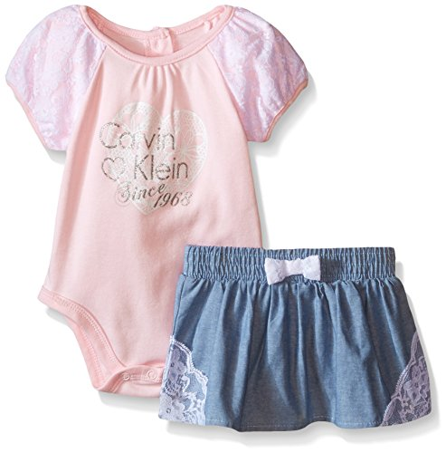 Calvin Klein Baby-Girls Bodysuit with Blue Chambray Skirt with Lace, Pink, 6-9 Months