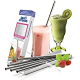 Stainless Steel Reusable Smoothie Straws by Savvy Straws ◈ Set of 5 Extra Wide Drinking Straws With Cleaning Brush ◈ A Must Have for Protein Shakes, Milkshakes, Smoothies & Frozen Cocktails