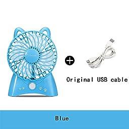 TOYM US- USB cartoon fan dormitory office outdoor portable mini mute Rechargeable Fan ( Color : Blue )