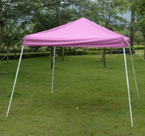 Outsunny Slant Leg Easy Pop-Up Canopy Party Tent, 10 X 10-Feet, Pink front-95777