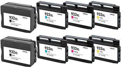 Prestige Cartridge HP 932XL / HP 933XL 8-er Pack Druckerpatronen für HP Officejet 6100, 6600, 6700, 7110, 7600, 7610, 7612, schwarz / cyan / magenta / gelb