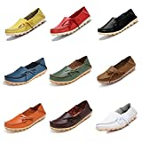 CIOR Women's Genuine Leather Loafers Casual Moccasin Driving Shoes Indoor Flat Slip-on Slippers