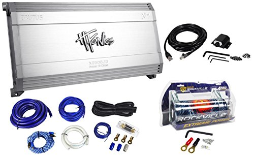Package: Hifonics X2600.1D Brutus X14 Series 2600 Watt Rms Mono Block Class D Car Amplifier + Rockville Rwk01 Complete 0 Gauge Wire Kit With Rca Cables + Rockville Rxc4D 4 Farad/12 Volt Digital Power Capacitor