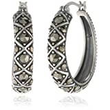 Sterling Silver Oxidized Marcasite Lattice Hoop Earrings (1.08