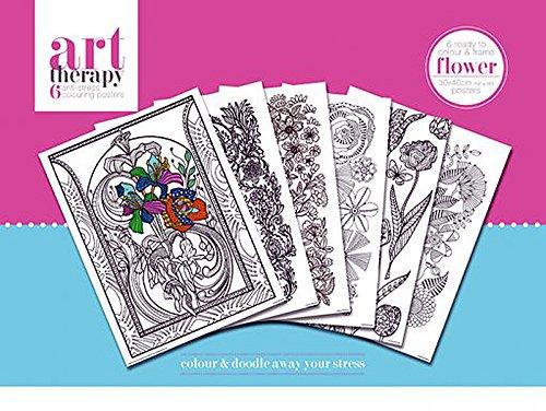 art therapy blumen colouring poster zum ausmalen im 6er. Black Bedroom Furniture Sets. Home Design Ideas