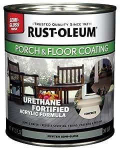 Rust-Oleum 244164 Porch Floor Paint, Pewter Semi-Gloss, 1-Quart